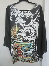 Womens Yummy Plus Size Dressy Sheer Asymmetrical Sublimation Top Size  2X 18/12W