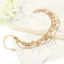 Women GOLD Bead Chain Anklet Ankle Bracelet Barefoot Sandal Beach Foot Jewelry