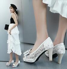 women's peep toes bowknot block high heel platform mesh pumps shoes court shoes