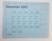 DAWSON'S CREEK set used paperwork ~ PRODUCTION CALENDAR Dec 2002-Jan 2003