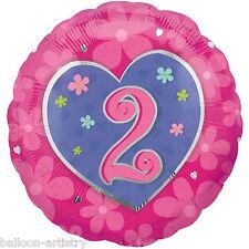 """18 """"Rosa Cuori e Fiori Felice 2nd Compleanno ROUND Foil Balloon"""
