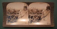 FOUR US SUBMARINE SUBMARINES IN DRY DOCK NAVY YARD  STEREOVIEW CARD