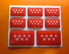 8 x Pegatinas 3D Relieve Bandera Comunidad de Madrid - Todas Banderas del MUNDO