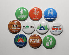 "CAMPING TENT GREAT OUTDOORS - Pinbacks Buttons Badges 1"" Set of 10"