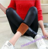 Hot Sale Womens Pants Stretch Pu Leather Faux Fur Linning Warm Winter Legging Sz