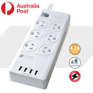 6 Outlet Surge Protected USB Power Board Powerboard
