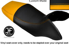 BLACK AND YELLOW VINYL CUSTOM FITS HONDA TRANSALP XL 700 V 08-12 DUAL SEAT COVER
