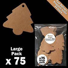 75 x Blank Buff/Manilla/Kraft/Brown Christmas Tree Tags Label/Gift Tag Pack