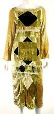 MARNI Vintage Harvest Gold Geometric Velvet Fur Trim Long Sleeve Dress 42