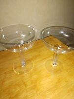 TWO MID CENTURY, 50s HOLLOW STEM Champagne Coupes, Mismatched, DELICATE, AMAZING