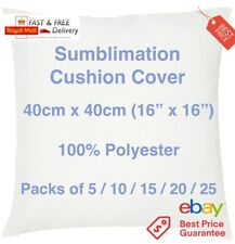 """Sublimation Cushion Cover Blank 40cm 16"""" Transfer Heat Press 100% Polyester Zip"""