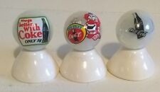 "3 - COCA COLA ""COKE"" LOGO MARBLES ON WHITE PEARL MARBLES SET #1"