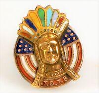 WWI ERA 10K YELLOW GOLD ORDER OF RED MEN TOTE ENAMEL INDIAN CHIEF HEAD LAPEL PIN
