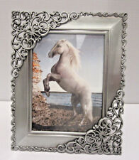 2.5 x 3.5 Pewter Antique Style Ornate Filigree Silver Picture Photo Frame
