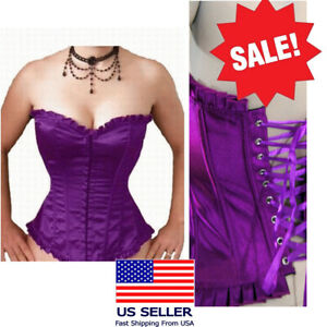 Satin Ruffle Purple Boned Lace Up Overbust Corset Top Bustier Lingerie USA 2xl