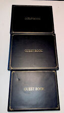 Black Guest Book with Beautiful gold edges Lot Of 3 Budd Leather New