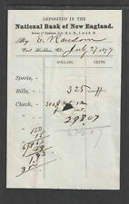 1877 / 1878 DEPOSIT SLIP FOR THE NATIONAL BANK OF NEW ENGLAND EAST HADDAM CT