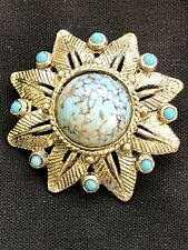 Vintage Silver Tone Turquoise Stoned Brooch (B.227)