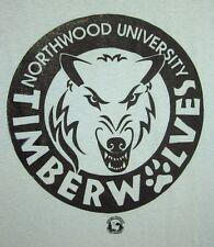 NORTHWOOD UNIVERSITY lrg T shirt Timberwolves NU beat-up tee Michigan snarl ogo