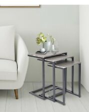 Nesting Side/End Tables Set of 3 Modern Rustic Stacking Accent Furniture Grey
