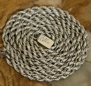 Vtg Mexico Sterling Silver Braided Rope Chain Necklace 27 Grams 24 Inch 4 mm