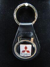 MITSUBISHI KEYCHAIN Black Top Grain LEATHER - Gold Tone Key Ring - AUTOMOBILE