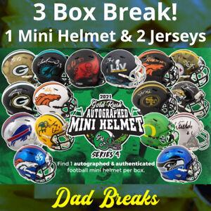 NEW YORK GIANTS Signed Gold Rush Mini Helmet + 2 Autographed Jerseys 3 BOX BREAK