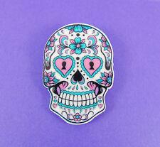 BIG SUGAR SKULL BROOCH day of the dead rockabilly kitsch vintage tattoo candy