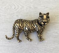 Vintage Tiger  Brooch pin  enamel on gold tone  metal