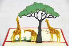 3D Pop Up Kirigami Card Giraffe Zoo Country side Handmade All Occations