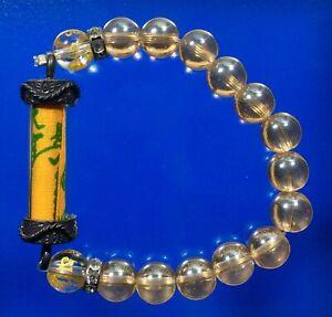 Bracelet Stone Bead Takrut Pha Yant Talisman Sky Blessing Cloth Thai Amulet