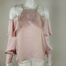 Haute Rogue Womens Large Dusty Pink Off Shoulder Top w/ Ruffle Lightweight NWT