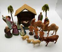 Vtg German Composition Nativity Set Creche Jesus Manger Stable 19 Pieces