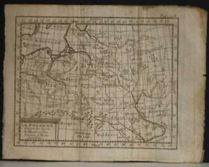 POLAND & LITHUANIA 1750 CLAUDE BUFFIER ANTIQUE ORIGINAL COPPER ENGRAVED MAP