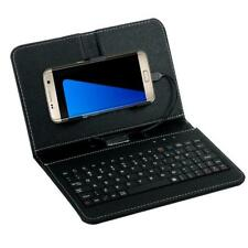 General Wired Keyboard Flip Holster Case For Andriod Phone 4.2''-6.8'' Black US