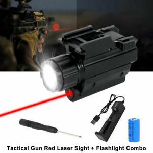 LED Tactical Pistol Light/Red Lsaer Sight Combo Gun Torch 20mm Picatinny Rail
