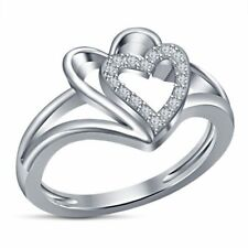 Ladies Promise Ring 10K White Gold Over 0.50 Ct Round Cut Diamond Heart Style