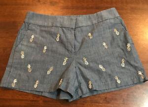 New Ann Taylor Loft Riviera Shorts Pockets Front Zip Women's Sz 8 Pineapple Blue