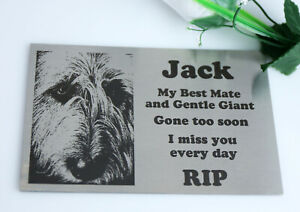 STAINLESS STEEL MEMORIAL PLAQUE URN GRAVE MARKER LASER ENGRAVE YOUR DOG PHOTO