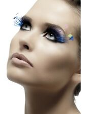 False Blue Lashes With Feather Plumes Fake Eyelashes Fancy Dress