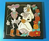 "☆ SKELETON TILE WEDDING ☆DAY OF THE DEAD ☆MASTERWORKS*USA ☆6""×6"" CERAMIC TRIVET☆"