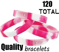 120 Camouflage Pink Breast Cancer Awareness Saying Wrist Bracelets - Camo