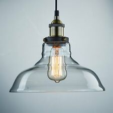 Edison Horn Shaped Dining Room Vintage Style 1-Light Pendant Glass Hanging Light