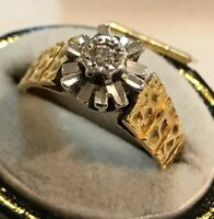 Vintage 18ct Gold Diamond Solitaire Flower Ring