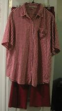 Maggie and Max women's 2X shirt Allison Daley II pants 18W red check set lot