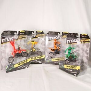 Lot Of 4 Orange Yellow, Red & Green MXS Wicked Racing Moto JAKKS New Sealed