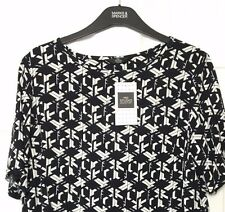 M&S Marks s12 Studio Black White Bold Print OpenBack Soft Crop Blouse Top BNWT