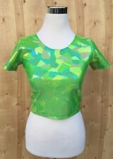 NEW American Apparel Neon Green Hologram Stretchy Crop Top Size M NWOT A25