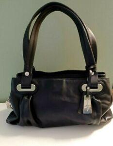 Jasper Conran Soft Leather Handbag Black  Chrome Ex Cond