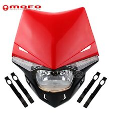 Streetfighter Dual Sport LED Visio H4 Headlight Lamp For Honda CBR XR CRF CR Red